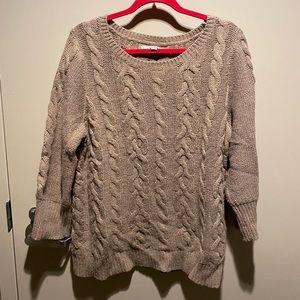 LOFT 3/4 sleeve light brown shimmer sweater